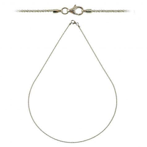 Chaine maille criss cross fermoir mousqueton en argent rhodié