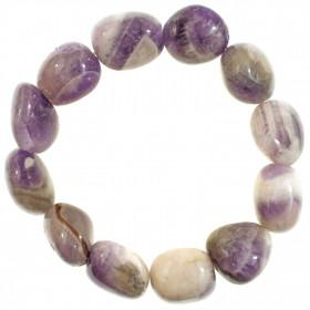 Bracelet en améthyste à chevron - Perles pierres roulées (grosses perles)