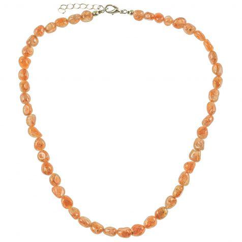 Collier en pierre de soleil de synthèse - Perles pierres roulées