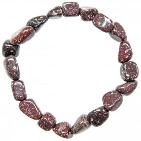 Bracelet en porphyre impérial rouge - Perles pierres roulées