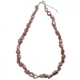 Collier en porphyre impérial rouge - Perles pierres roulées
