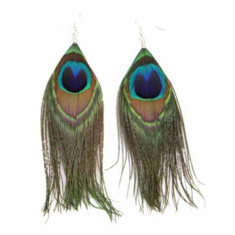 Boucles d'oreilles longues en plumes de paon