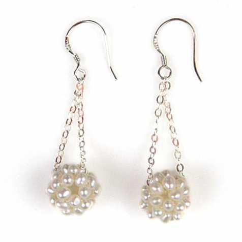 Boucles d'oreilles petites perles nacrées et chaîne argent 925