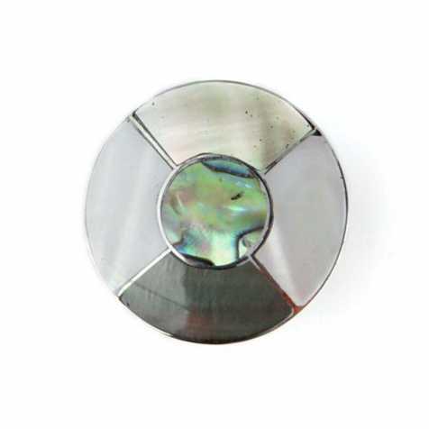 Bague métal argenté et nacre - Taille réglable