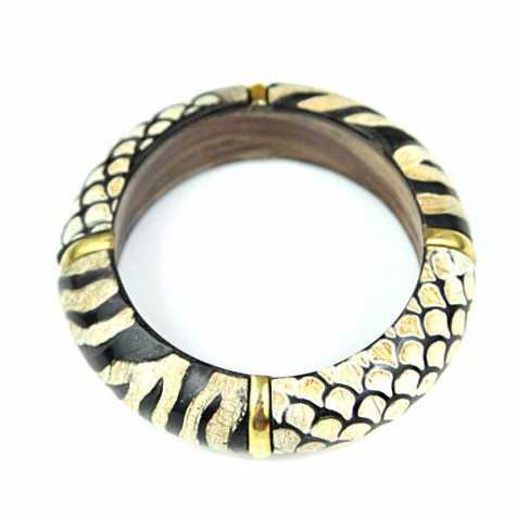 Bracelet bangle en bois à motifs jungle zèbre et croco