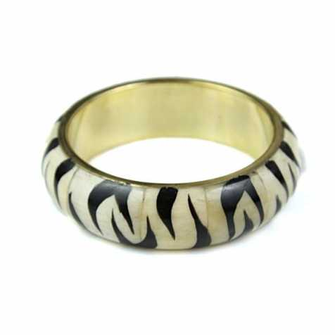 Bracelet bangle en os motifs jungle zèbre