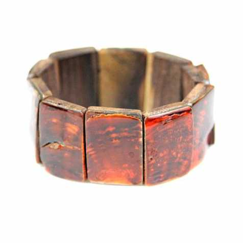 Bracelet élastiqué carrés de nacre orange