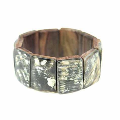 Bracelet élastiqué carrés de nacre verte