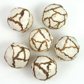 Boules déco en bois de sola - 6 cm - Lot de 6