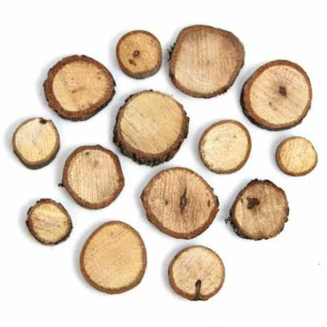 Rondelles brutes de bois de chêne déco - 250 grammes