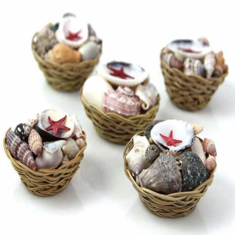 Mini paniers de coquillages assortis - 5 cm - Lot de 5