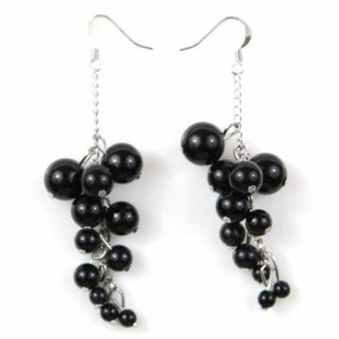 boucles d 39 oreilles grappe en obsidienne noire naturosph re. Black Bedroom Furniture Sets. Home Design Ideas