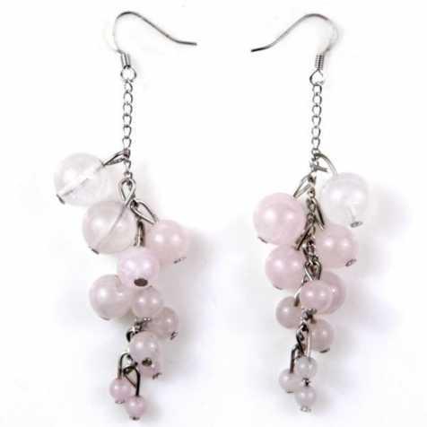 Boucles d'oreilles grappe en quartz rose