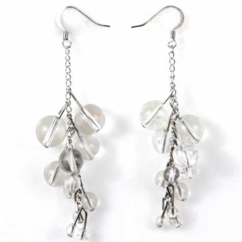 Boucles d'oreilles grappe en cristal de roche