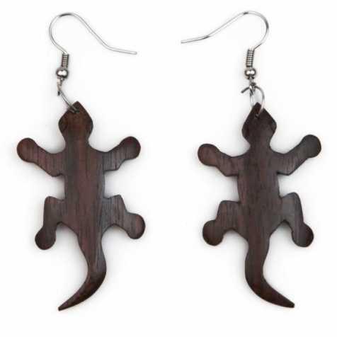 Boucles d'oreilles salamandre gecko en bois de sono