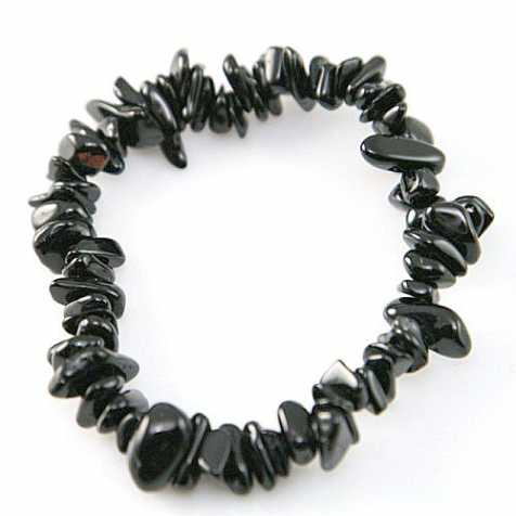 Bracelet en agate noire (onyx) - perles baroques