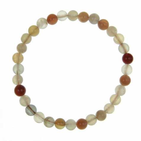Bracelet en pierre de lune orangée - perles rondes