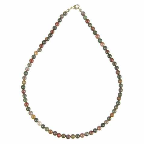 Collier en jaspe héliotrope - 45 cm - Perles rondes