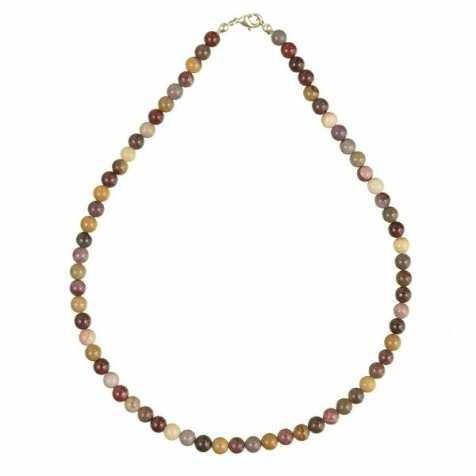 Collier en jaspe mokaite - 45 cm - Perles rondes