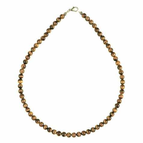 Collier en oeil de tigre - 45 cm - Perles rondes