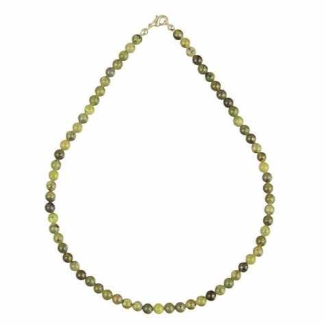 Collier en jade néphrite - 45 cm - Perles rondes