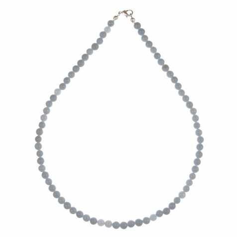 Collier en angélite - 45 cm - Perles rondes