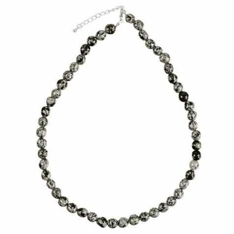 Collier en obsidienne neige - Perles pierres roulées