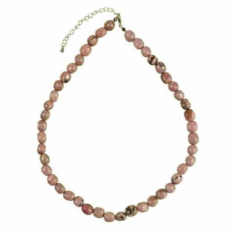 Collier en rhodonite - Perles pierres roulées