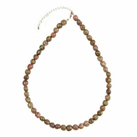 Collier en unakite - Perles pierres roulées