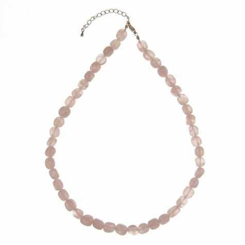 Collier en quartz rose - Perles pierres roulées