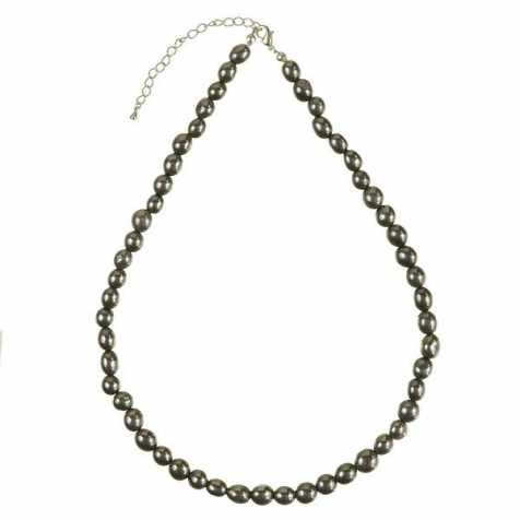 Collier en hématite - Perles pierres roulées