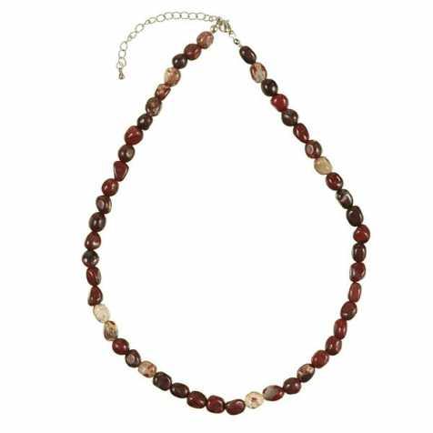 Collier en jaspe breschia - Perles pierres roulées