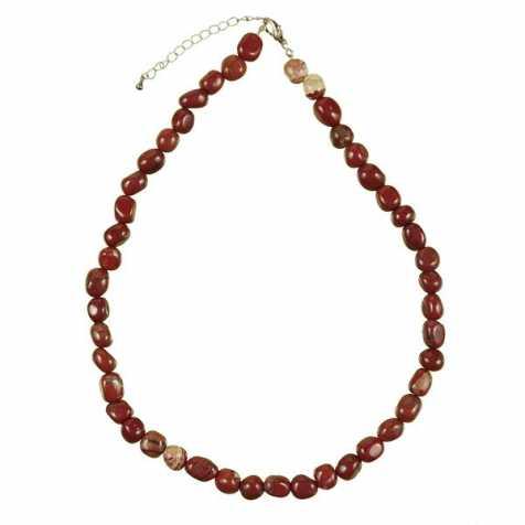 Collier en jaspe rouge - Perles pierres roulées
