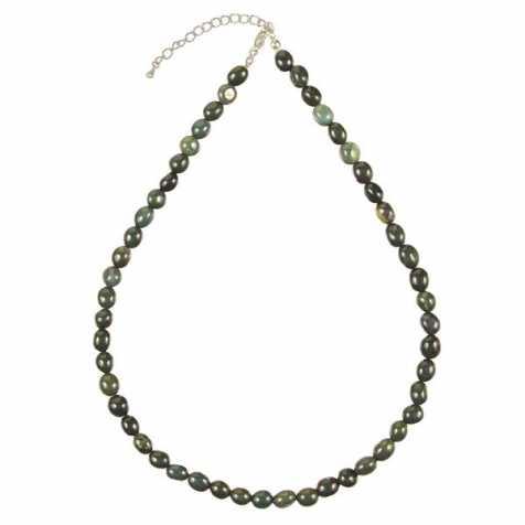 Collier en jaspe vert sanguin - Perles pierres roulées
