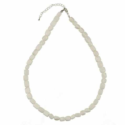 Collier en agate blanche - Perles pierres roulées