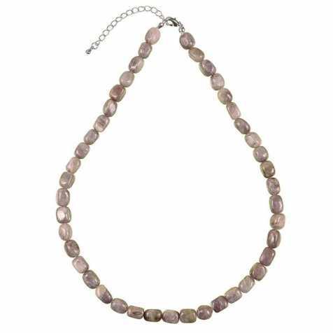 Collier en aventurine mauve - Perles pierres roulées