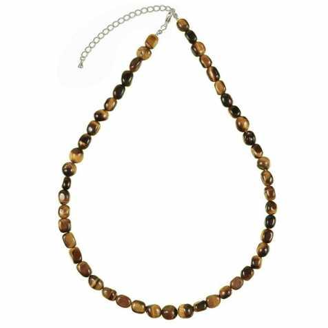 Collier en oeil de tigre - Perles pierres roulées
