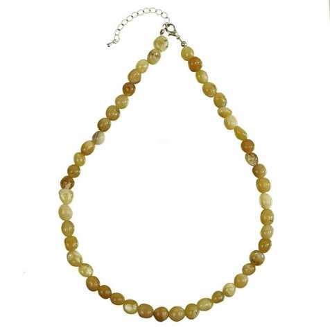 Collier en opale jaune - Perles pierres roulées