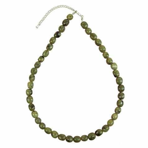 Collier en jade néphrite - Perles pierres roulées