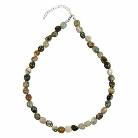 Collier en jaspe orbiculaire - Perles pierres roulées
