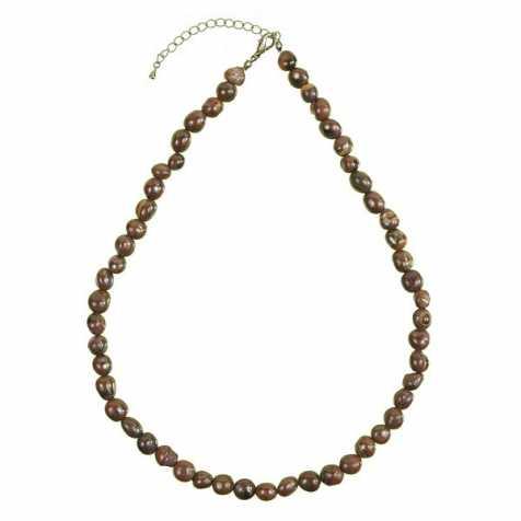 Collier en oeil de fer - Perles pierres roulées
