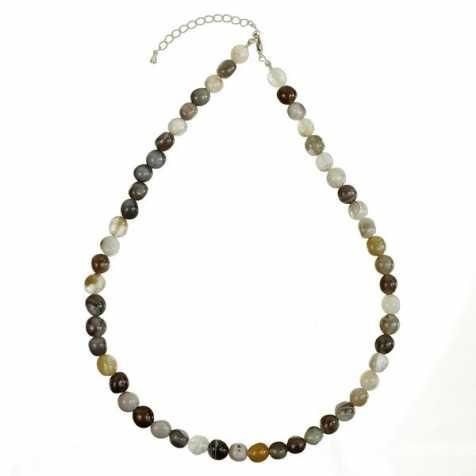Collier en agate de Botswana - Perles pierres roulées