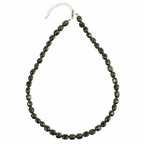 Collier en obsidienne noire - Perles pierres roulées
