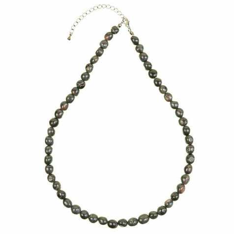 Collier en oeil de faucon - Perles pierres roulées