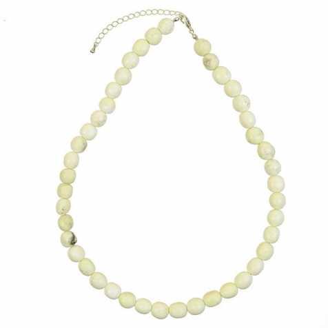 Collier en chrysoprase citron - Perles pierres roulées