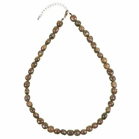 Collier en bronzite - Perles pierres roulées