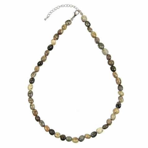 Collier en jaspe multicolore - Perles pierres roulées
