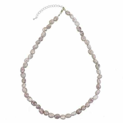 Collier en lépidolite claire - Perles pierres roulées