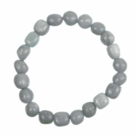 Bracelet en angélite - Perles pierres roulées