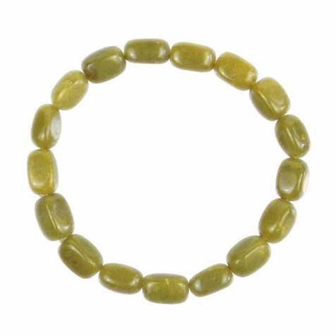 Bracelet en serpentine - Perles pierres roulées (forme carrée)